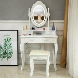 White Makeup Vanity Table Set with Lights Led Mirror and 4 D