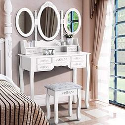 Dressing Table Makeup Desk & Stool Tri-Folding Mirror Vanity