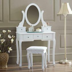 White Vanity Dressing Table Set With Mirror Stool 5 Drawers