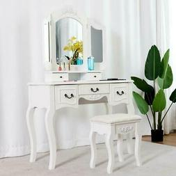 white vanity makeup dressing table set w