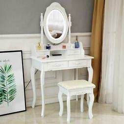 White Vanity Set with Lighted Mirror & Stool Drawer Women Ma