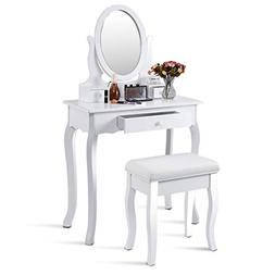White Vanity Table Jewelry Makeup Desk Bench Dresser with St