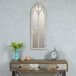 wood cathedral framed wall mirror