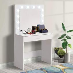 Wood Makeup Vanity Dressing Table Set with 12 LED Lighted Mi