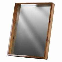 Urban Trends Wood Rectangular Wall Mirror with Protruding Fr