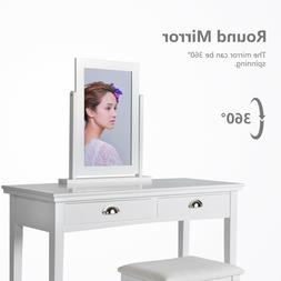 Wood Vanity Makeup Dressing Table Set With 2Drawers Mirrors