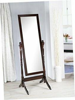 Wooden Cheval Bedroom Floor Mirror with Twisted Post in Espr