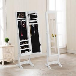 Wooden Mirrored Jewelry Cabinet Armoire Organizer Storage Ch