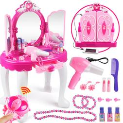 Xmas Gift For Girls Kids Play Vanity Makeup Set with Lights